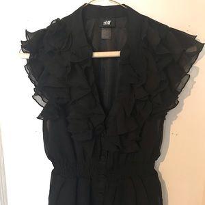 H&M black ruffle blouse.